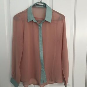 Sheer peach and mint top